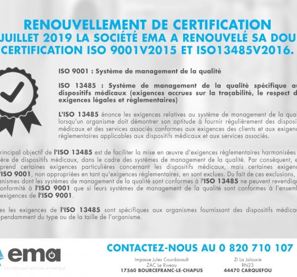 Renouvellement de certification